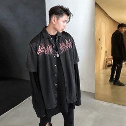 108071 스플렌디드 플레임라인 엠브로이드 하프 셔츠 (Black)
