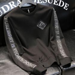 108130 시메트릭 사이드 레터링 포인트 맨투맨 티셔츠 (Black)