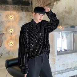 108063 로이어 유니크라인 헤비오버 스트라이프 셔츠 (Black)