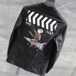 108201 프레데릭라인 엠블럼 프린팅 포인트 자켓 (Black)