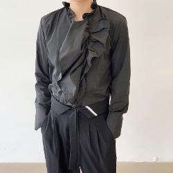 108348 유니크라인 웨이브 포인트 헤비오버 셔츠 (Black)