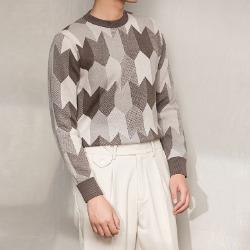 108378 유니크 데일리라인 지오메트릭 패턴포인트 니트 (2Color)