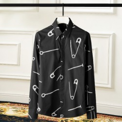 108426 헤비클립 프린팅 패턴포인트 히든버튼 셔츠 (Black)