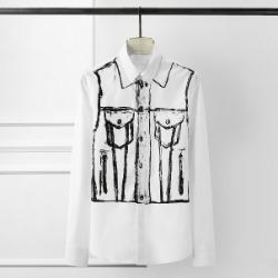 108427 데님라인 그래피티 포인트 히든버튼 셔츠 (White)