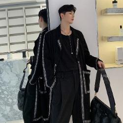 108441 유니크 비조라인 벨벳포인트 오버핏 코트 (Black)