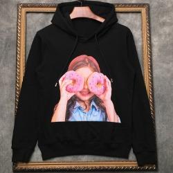 108298 유니크라인 걸스 도넛프린팅 후드 티셔츠 (2Color)