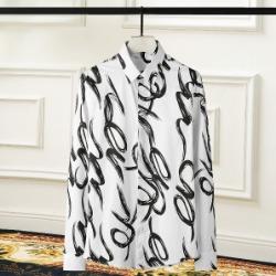 108425 스케치 라인패턴 포인트 히든버튼 셔츠 (White)
