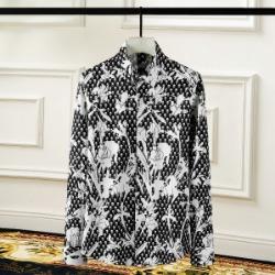 108428 플로랄라인 스컬패턴 포인트 히든버튼 셔츠 (Black)