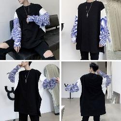108499 믹스셔츠 슬리브 포인트 헤비오버 티셔츠 (Black)