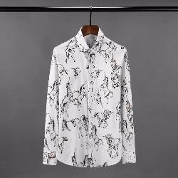 108514 유니콘 스케치 패턴포인트 히든버튼 셔츠 (White)