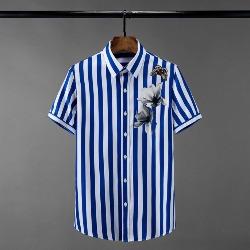 108543 고져스 체스트 플라워 스트라이프 반팔 셔츠