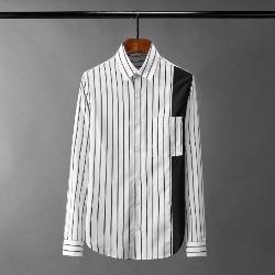 108532 유니크 스트라이프 백보드 배색 셔츠