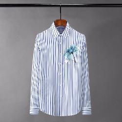 108526 유니크 플라워 프린팅 스트라이프 셔츠