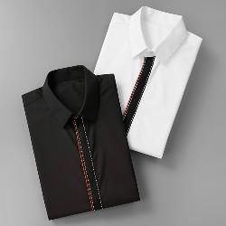 108568 앞띠배색 포인트 히든버튼 셔츠