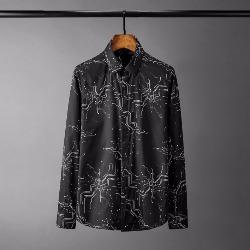108558 유니크 기하학라인 프린팅 히든버튼 셔츠