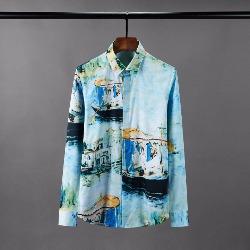 108588 유니크 컬러풀 명화프린팅 히든버튼 셔츠