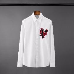 108581 유니크 알파벳 가슴자수패치 히든버튼 셔츠