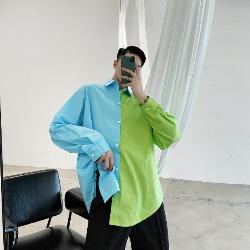 108609 네온칼라 오버핏 배색셔츠