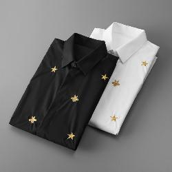 108808 유니크 골드 스타 허니비 자수 긴팔 셔츠