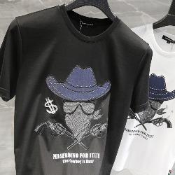 108791 다이아몬드 카우보이 프린팅 반팔 티셔츠