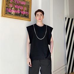 108796 넥클레스 체인포인트 오버핏 스트릿 민소매 티셔츠