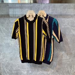 108843 컬러풀 스트라이프 배색 라운드 반팔 니트 티셔츠