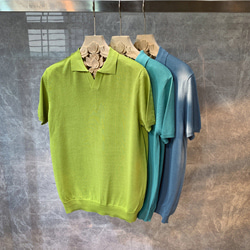 108837 데일리 미니멀 오픈카라 니트 반팔 PK 티셔츠
