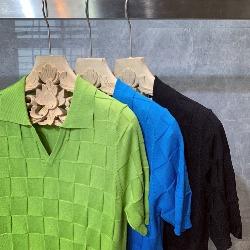 108820 그리드 패턴 오픈카라 니트 PK 반팔 티셔츠