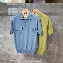 108840 체스트 더블 포켓 포인트 반팔 니트 PK 티셔츠