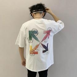 108865 유니크 레인보우 에로우 스트릿 반팔 티셔츠