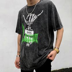 108891 레트로 스컬 피스 반팔 티셔츠