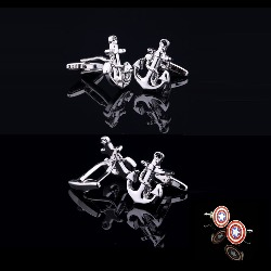 94510 해군 돛+캡틴아메리카 커프스버튼 (Silver) -회원만 구매가능-