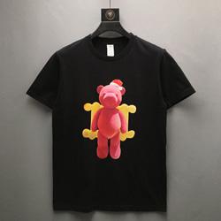 109011 유니크 핑크 베어 프린팅 반팔 티셔츠