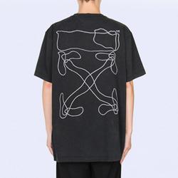 109021 지오메트리 에로우 자수 포인트 반팔 티셔츠