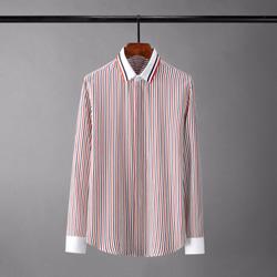 109446 멀티 스트라이프 카라 소매 배색 긴팔 셔츠