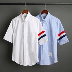 109546 옥스포드 삼선 소매 완장 반팔 셔츠