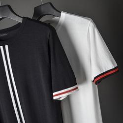 109595 센터 두줄 라인 포인트 반팔 니트 티셔츠