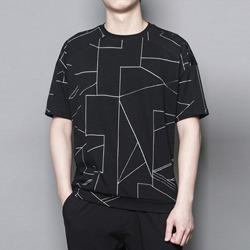 109646 유니크 지오메트릭 절개 라인 반팔 티셔츠