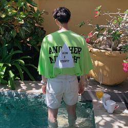 109488 레터링 트라이앵글 오버핏 반팔 티셔츠