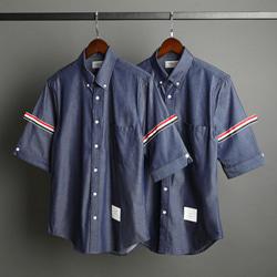 109554 삼선 완장 포인트 데님 반팔 셔츠