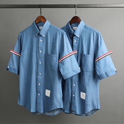 109537 시그니쳐 포인트 데님 반팔 셔츠