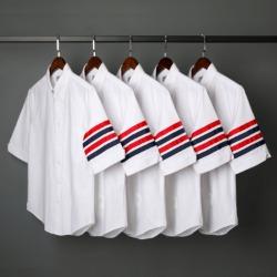 109565 옥스포드 사선 배색 완장 반팔 셔츠