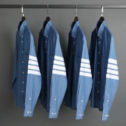 109587 시그니쳐 사선 완장 데님 긴팔 셔츠