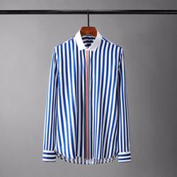 109448 스트라이프 앞띠배색 긴팔 셔츠