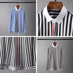 109383 가슴 띠배색 볼드 스트라이프 긴팔 셔츠
