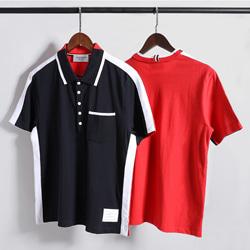 109536 하프 배색 포인트 삼선 PK 카라 반팔 티셔츠