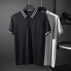 109596 카라 두줄 배색 포인트 반팔 니트 티셔츠