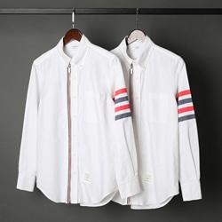 109526 옥스포드 앞선 지퍼 삼선 띠 배색 긴팔 셔츠
