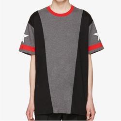109729 트렌드 스트라이프 패치 스타 티셔츠