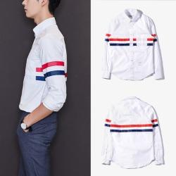 109596 삼선 라인 가로 배색 포인트 긴팔 셔츠